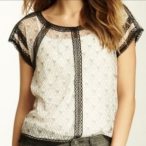 FREE PEOPLE white comb sheer lace top blouse